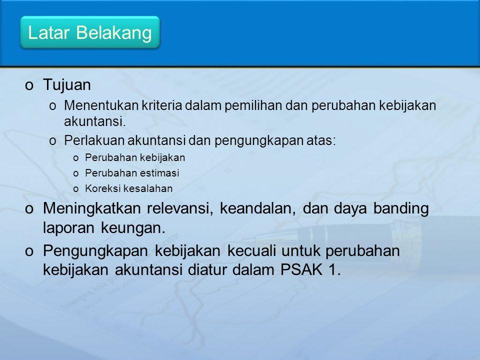 Latar Belakang Tujuan. Menentukan kriteria dalam pemilihan dan perubahan kebijakan akuntansi. Perlakuan akuntansi dan pengungkapan atas: