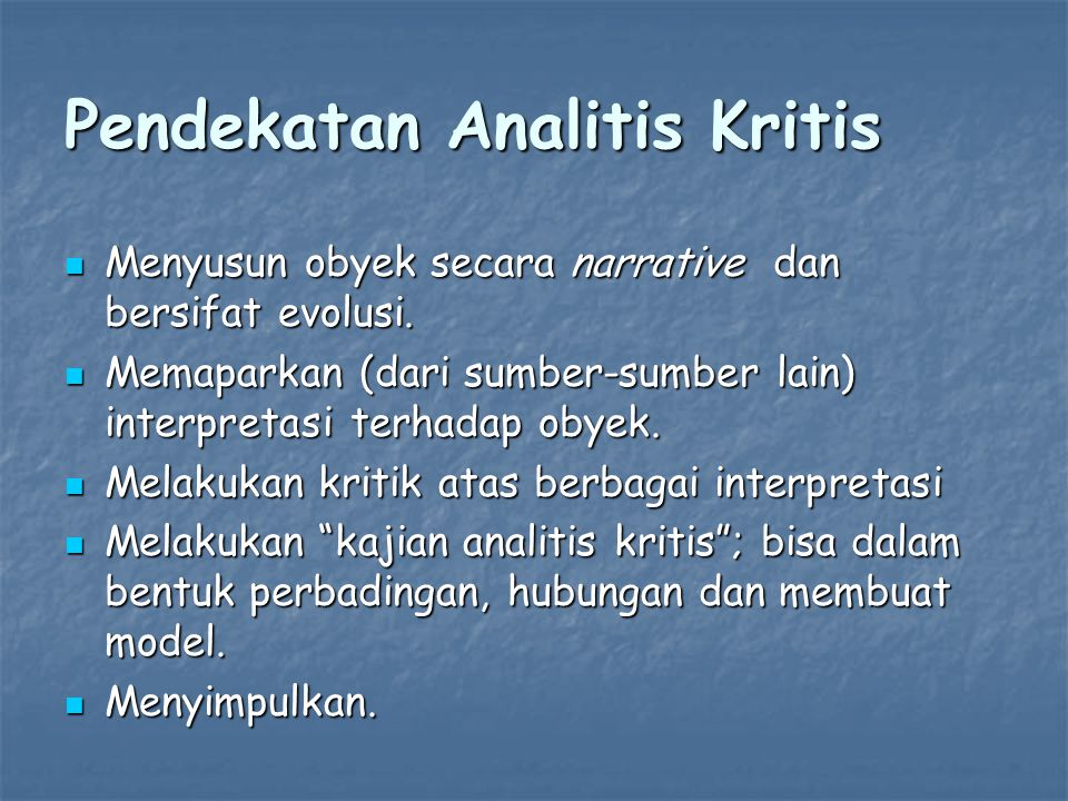 Pendekatan Analitis Kritis