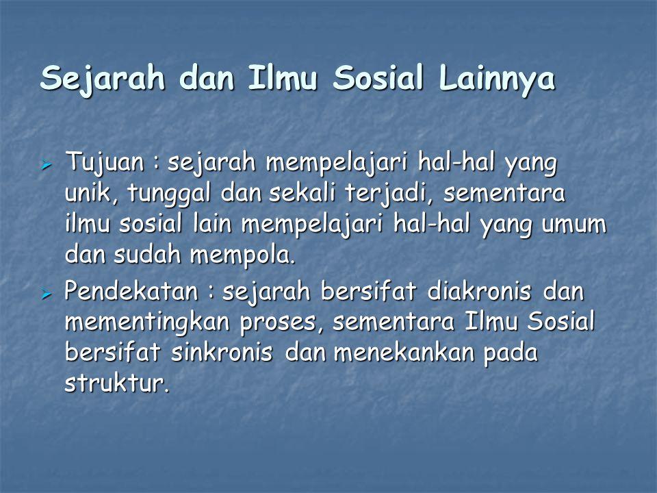 Sejarah dan Ilmu Sosial Lainnya