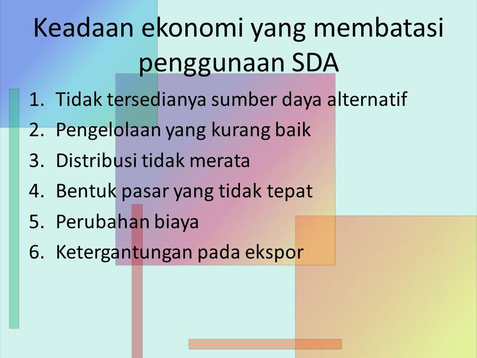 Keadaan ekonomi yang membatasi penggunaan SDA