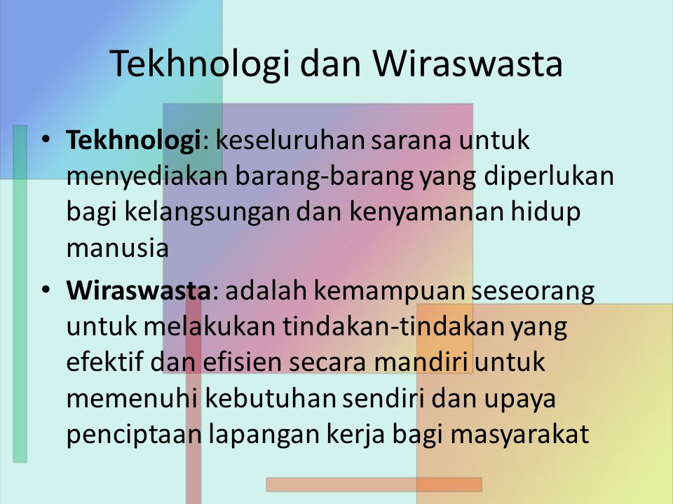 Tekhnologi dan Wiraswasta