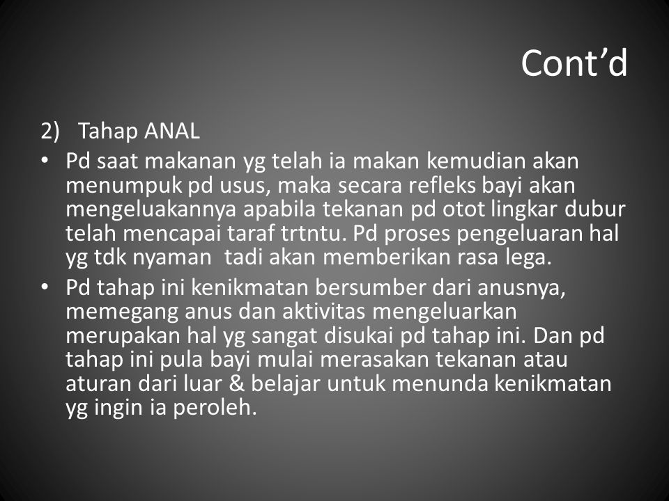 Cont'd Tahap ANAL.