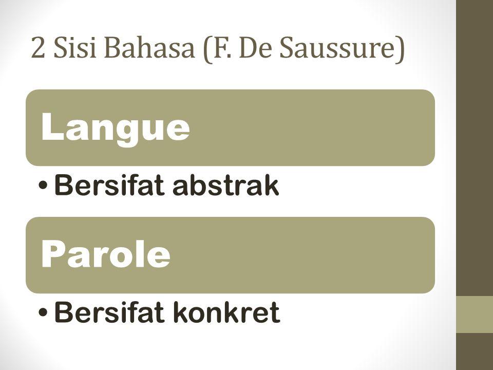 2 Sisi Bahasa (F. De Saussure)