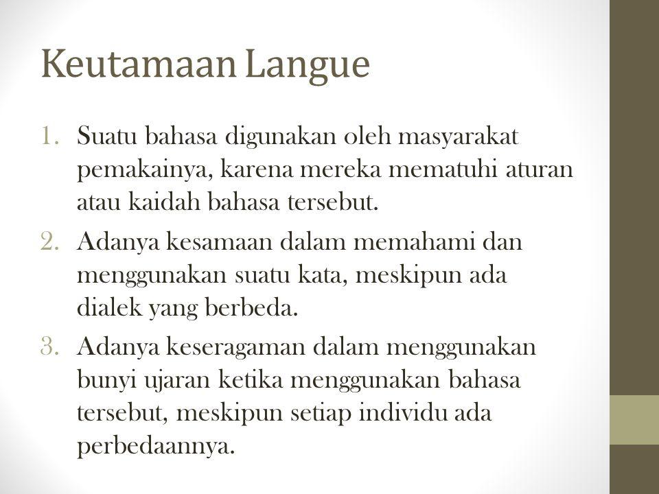 Keutamaan Langue Suatu bahasa digunakan oleh masyarakat pemakainya, karena mereka mematuhi aturan atau kaidah bahasa tersebut.