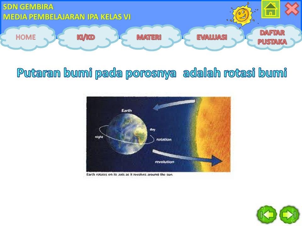 Putaran bumi pada porosnya adalah rotasi bumi