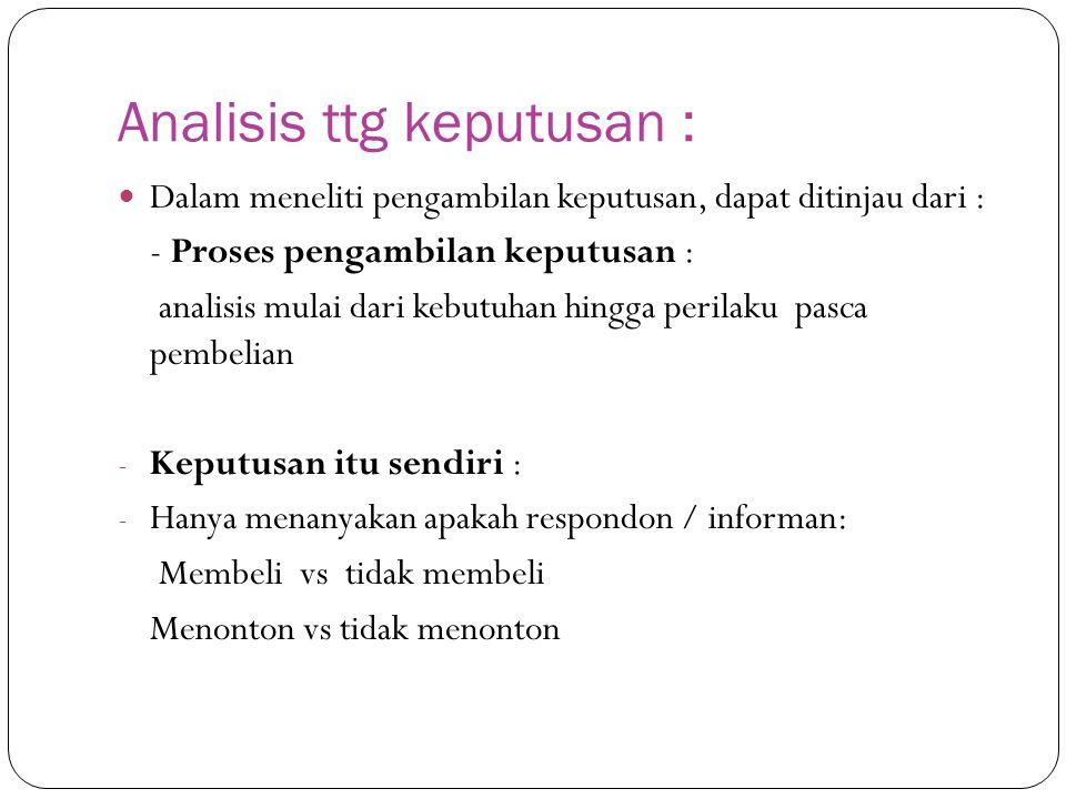 Analisis ttg keputusan :