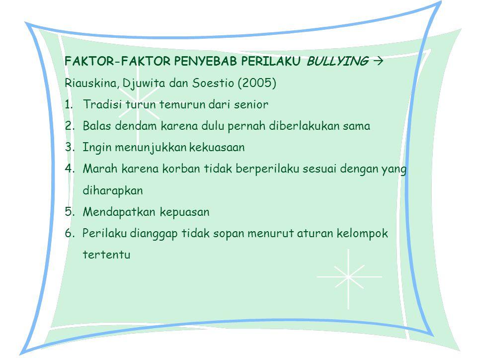 FAKTOR-FAKTOR PENYEBAB PERILAKU BULLYING  Riauskina, Djuwita dan Soestio (2005)