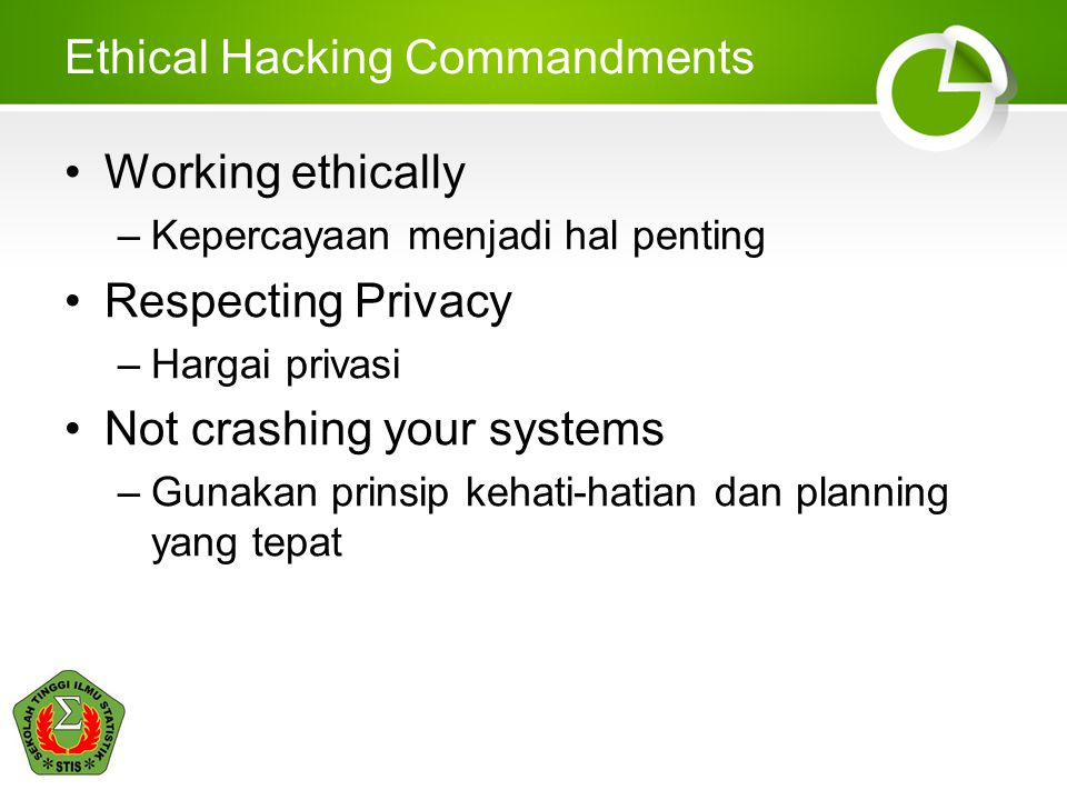 Ethical Hacking Commandments