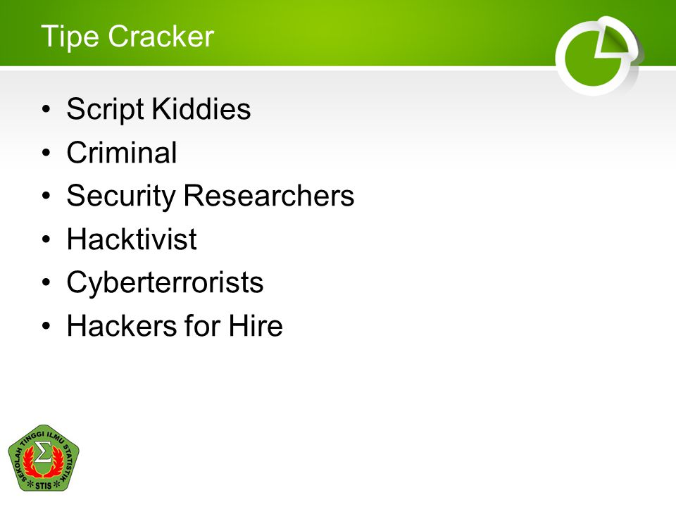 Tipe Cracker Script Kiddies. Criminal. Security Researchers.