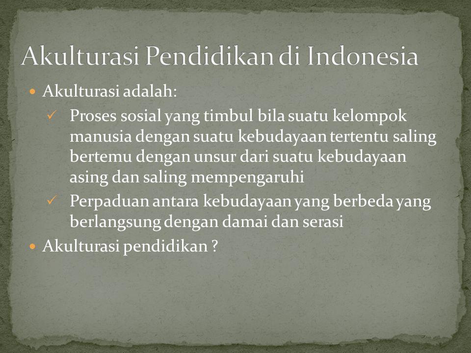Akulturasi Pendidikan di Indonesia