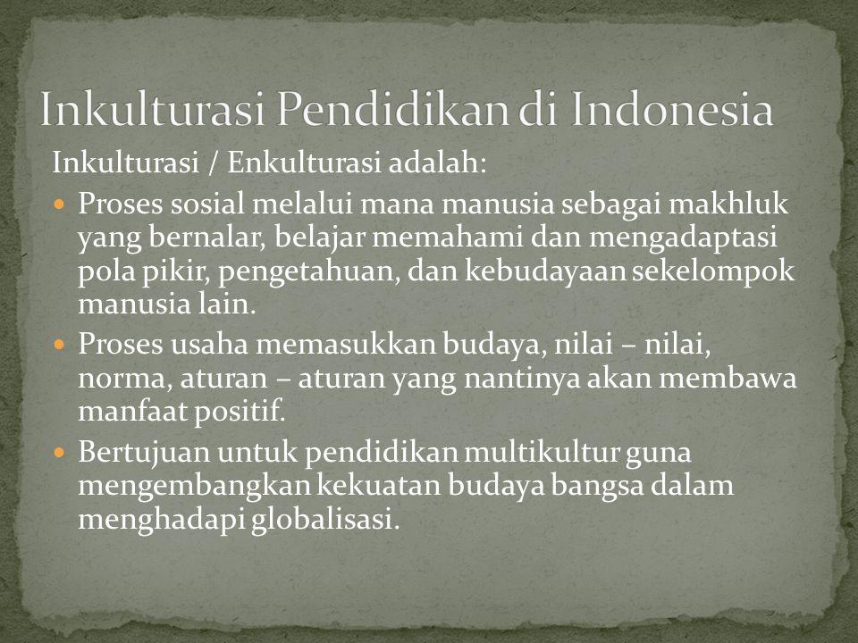 Inkulturasi Pendidikan di Indonesia
