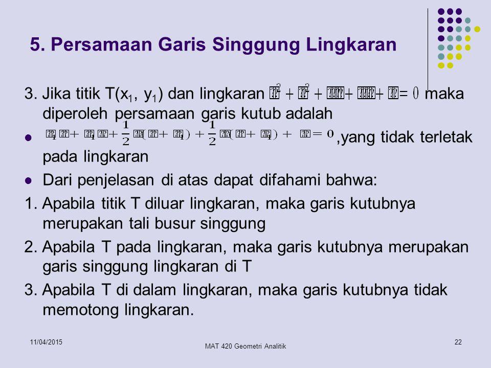 5. Persamaan Garis Singgung Lingkaran