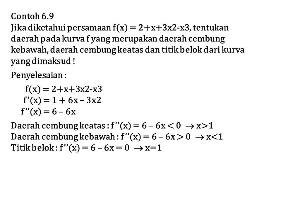 Contoh 6.9 Jika diketahui persamaan f(x) = 2+x+3x2-x3, tentukan. daerah pada kurva f yang merupakan daerah cembung.