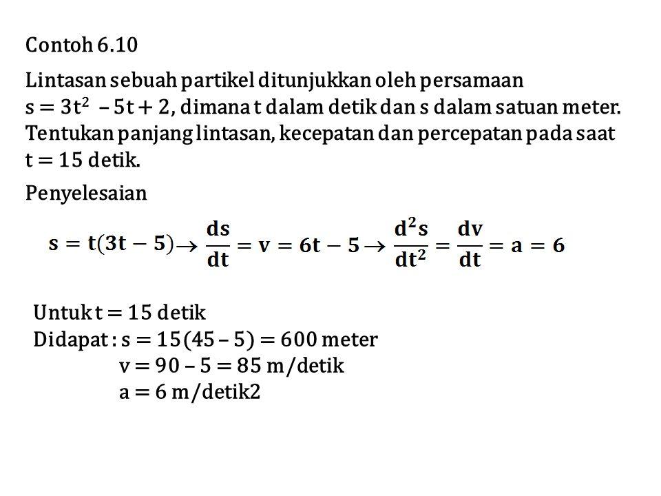 Contoh 6.10 Lintasan sebuah partikel ditunjukkan oleh persamaan. s = 3t2 – 5t + 2, dimana t dalam detik dan s dalam satuan meter.