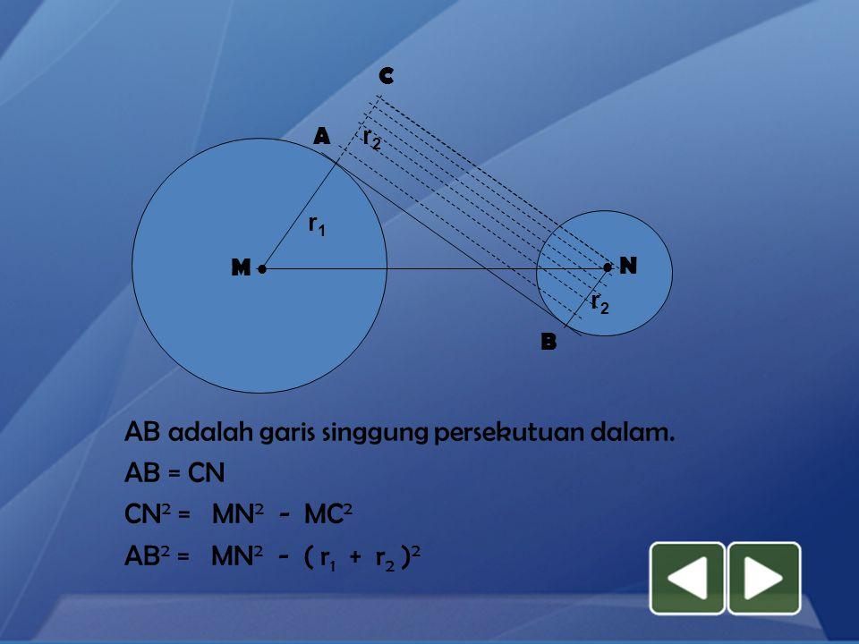 AB adalah garis singgung persekutuan dalam. AB = CN CN2 = MN2 - MC2