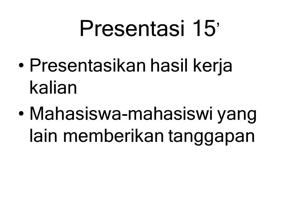 Presentasi 15' Presentasikan hasil kerja kalian