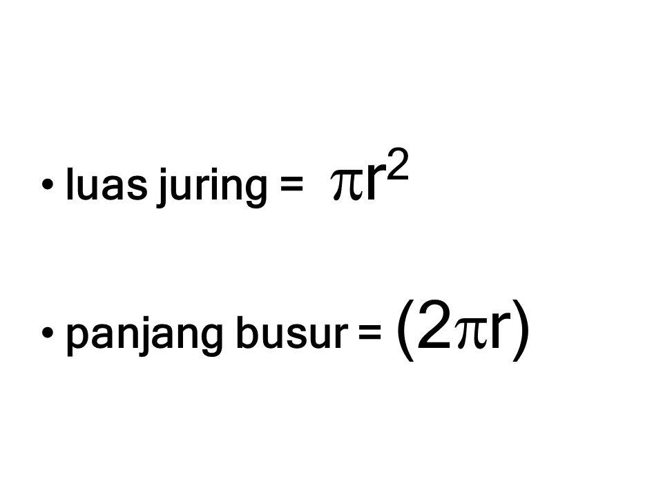 luas juring = r2 panjang busur = (2r)