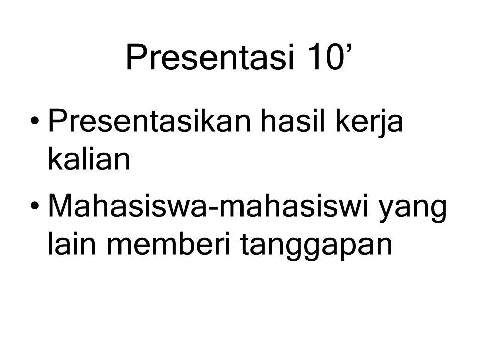 Presentasi 10' Presentasikan hasil kerja kalian