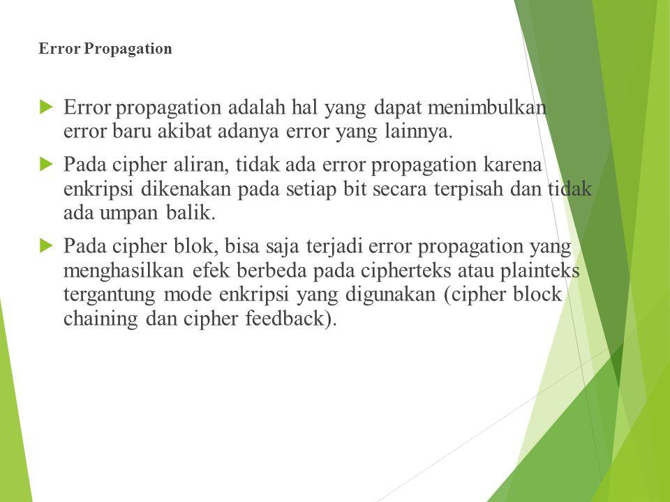 Error Propagation Error propagation adalah hal yang dapat menimbulkan error baru akibat adanya error yang lainnya.