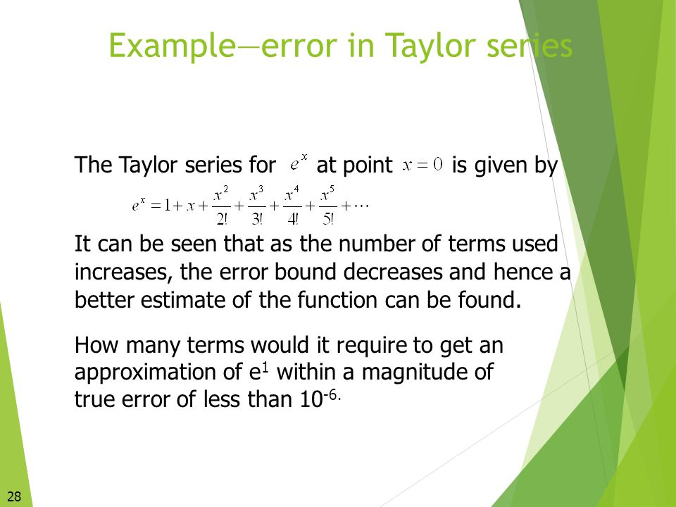 Example—error in Taylor series