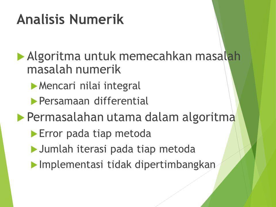 Analisis Numerik Algoritma untuk memecahkan masalah masalah numerik