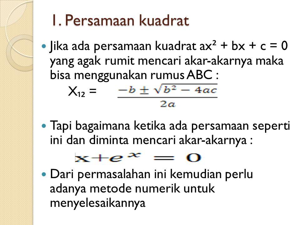 1. Persamaan kuadrat Jika ada persamaan kuadrat ax² + bx + c = 0 yang agak rumit mencari akar-akarnya maka bisa menggunakan rumus ABC :