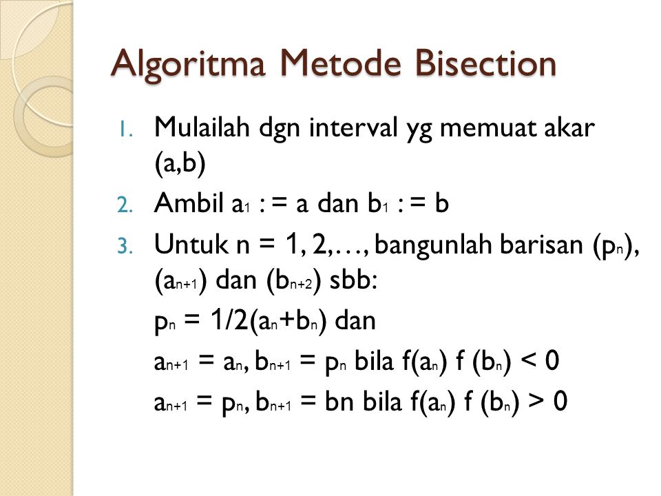 Algoritma Metode Bisection