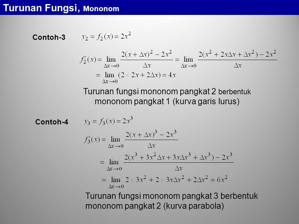 Turunan Fungsi, Mononom