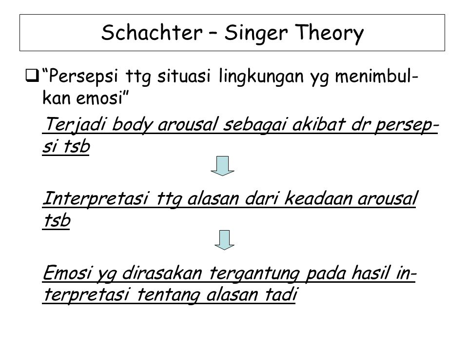 Schachter – Singer Theory