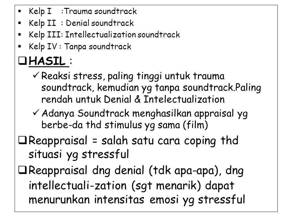 Reappraisal = salah satu cara coping thd situasi yg stressful