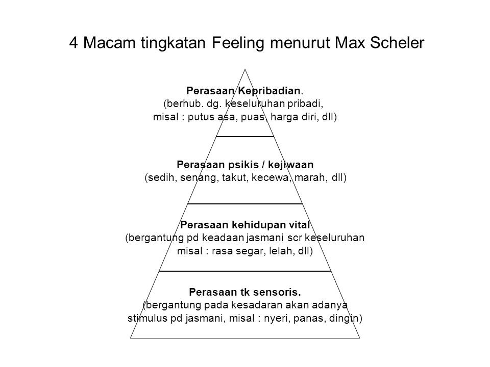4 Macam tingkatan Feeling menurut Max Scheler