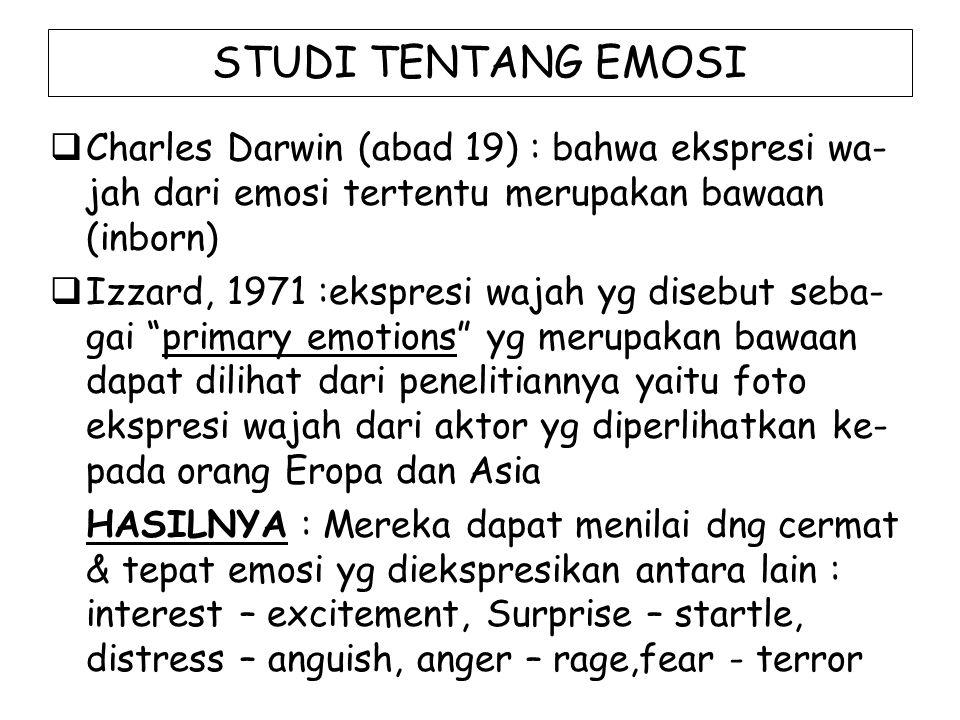 STUDI TENTANG EMOSI Charles Darwin (abad 19) : bahwa ekspresi wa-jah dari emosi tertentu merupakan bawaan (inborn)