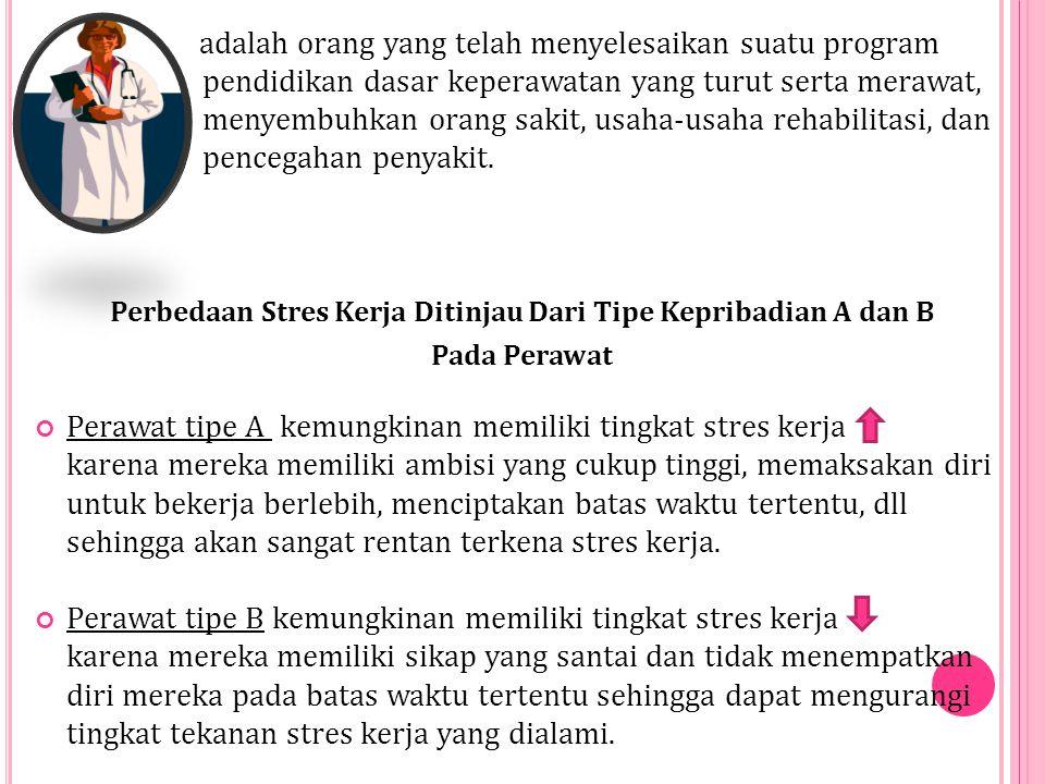 Perbedaan Stres Kerja Ditinjau Dari Tipe Kepribadian A dan B