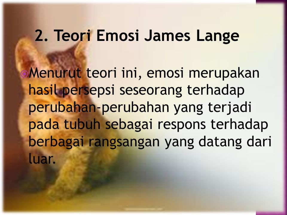2. Teori Emosi James Lange