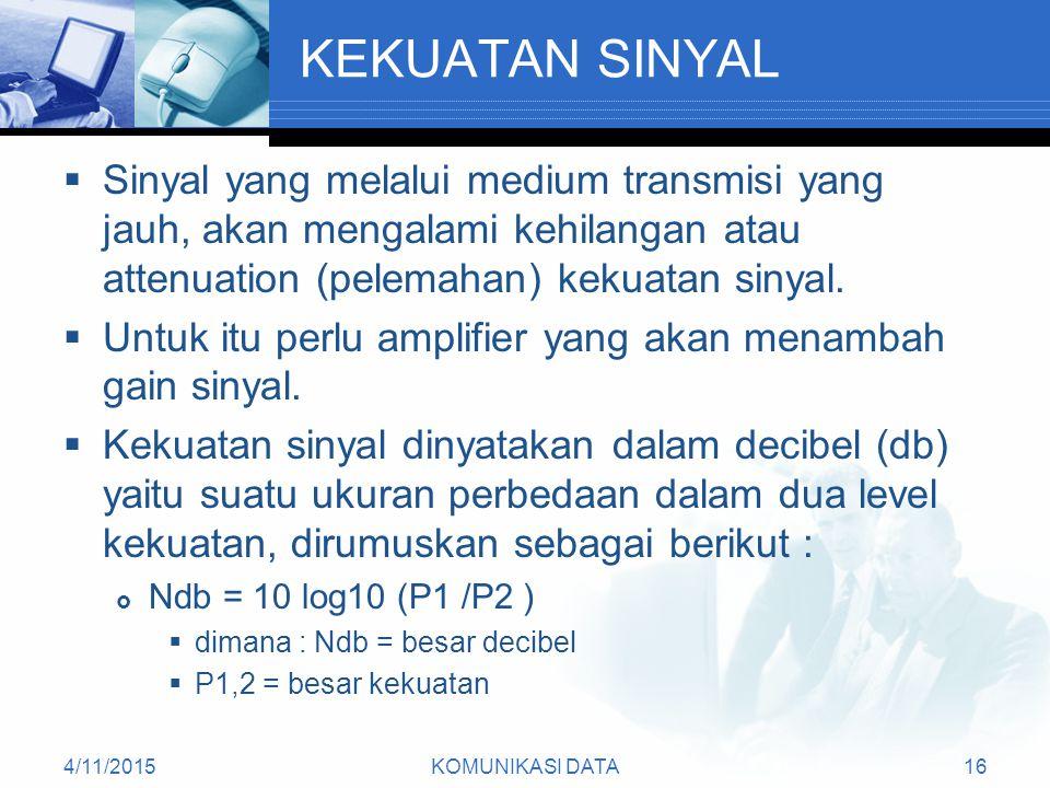 KEKUATAN SINYAL Sinyal yang melalui medium transmisi yang jauh, akan mengalami kehilangan atau attenuation (pelemahan) kekuatan sinyal.