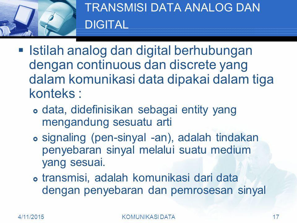 TRANSMISI DATA ANALOG DAN DIGITAL