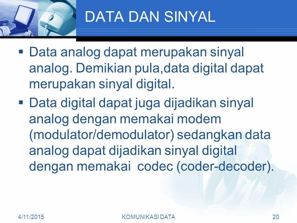 DATA DAN SINYAL Data analog dapat merupakan sinyal analog. Demikian pula,data digital dapat merupakan sinyal digital.