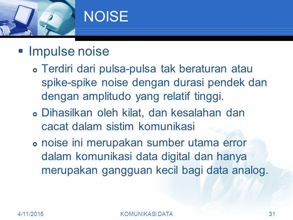 NOISE Impulse noise. Terdiri dari pulsa-pulsa tak beraturan atau spike-spike noise dengan durasi pendek dan dengan amplitudo yang relatif tinggi.