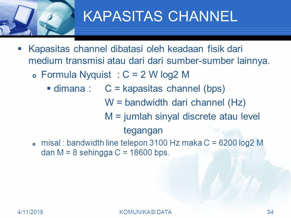 KAPASITAS CHANNEL Kapasitas channel dibatasi oleh keadaan fisik dari medium transmisi atau dari dari sumber-sumber lainnya.