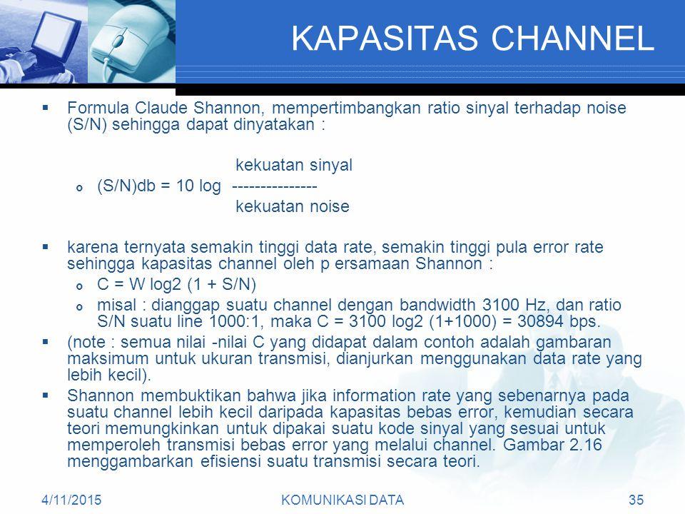 KAPASITAS CHANNEL Formula Claude Shannon, mempertimbangkan ratio sinyal terhadap noise (S/N) sehingga dapat dinyatakan :