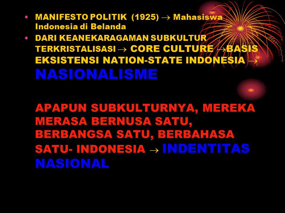 MANIFESTO POLITIK (1925)  Mahasiswa Indonesia di Belanda