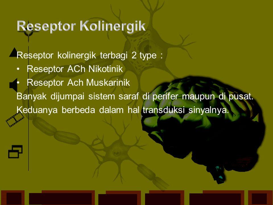 Reseptor Kolinergik Reseptor kolinergik terbagi 2 type :