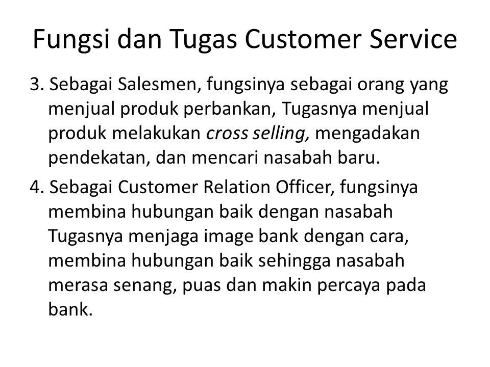 Fungsi dan Tugas Customer Service