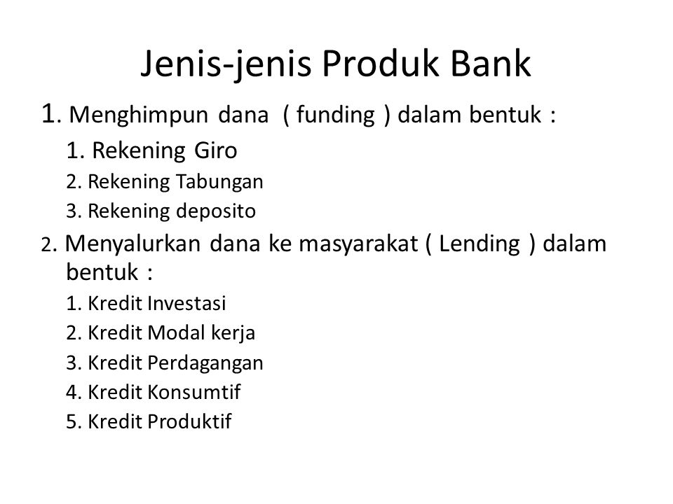 Jenis-jenis Produk Bank