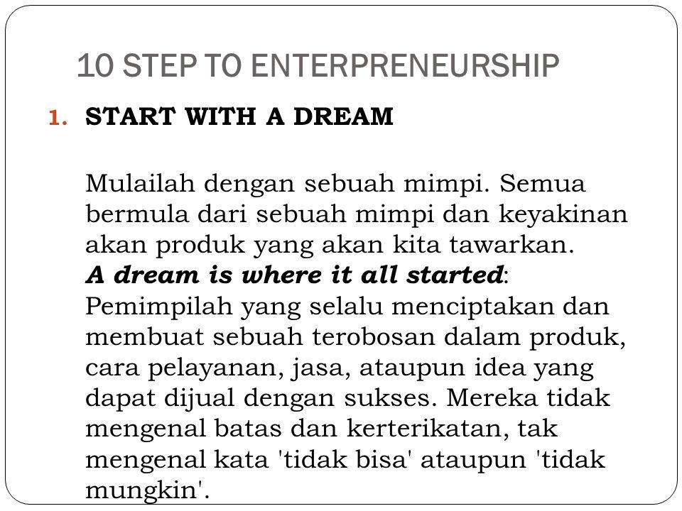 10 STEP TO ENTERPRENEURSHIP