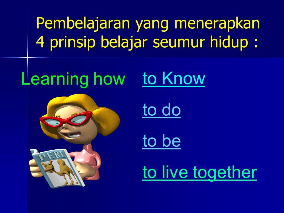 Pembelajaran yang menerapkan 4 prinsip belajar seumur hidup :