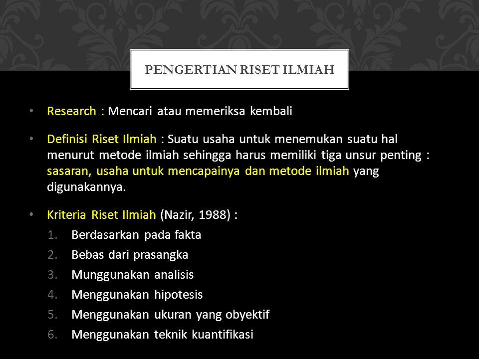 Pengertian riset ILMIAH