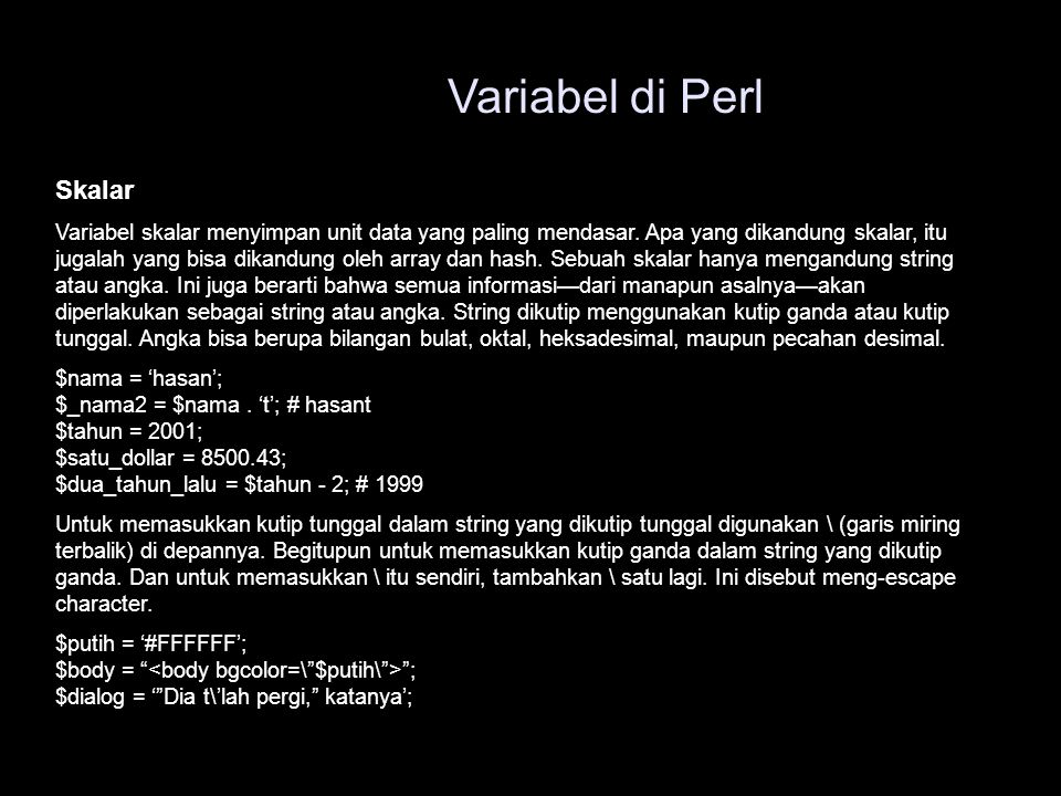 Variabel di Perl Skalar