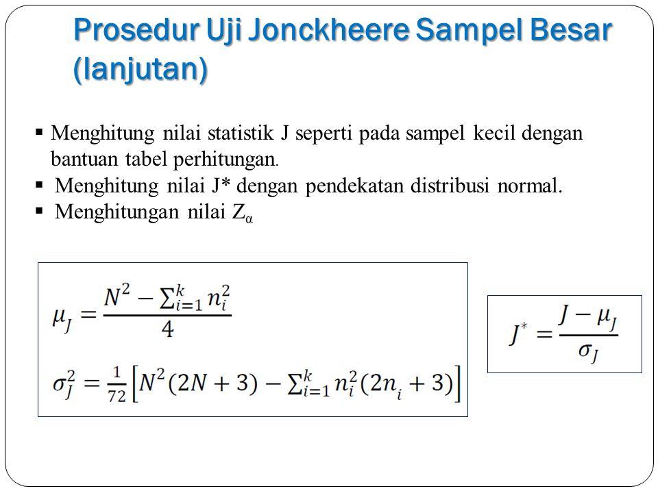 Prosedur Uji Jonckheere Sampel Besar (lanjutan)