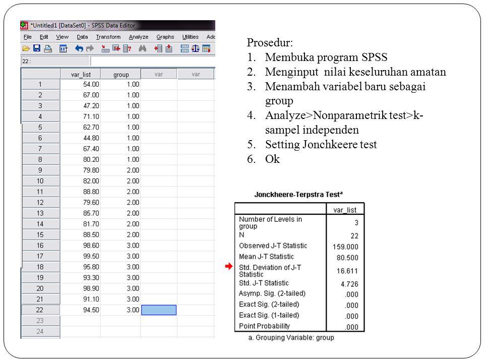 Prosedur: Membuka program SPSS. Menginput nilai keseluruhan amatan. Menambah variabel baru sebagai group.